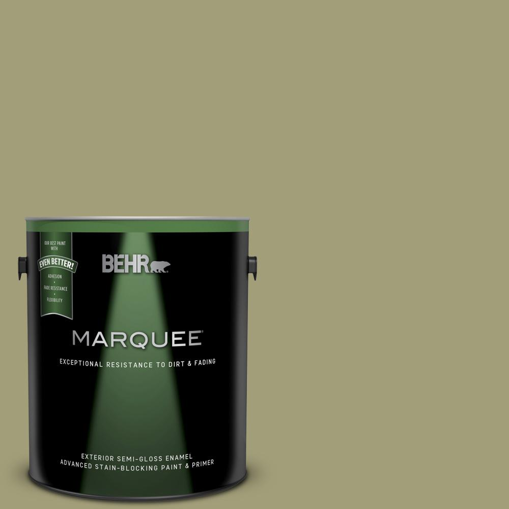1 gal. #MQ6-57 Bermuda Grass Semi-Gloss Enamel Exterior Paint and Primer in One