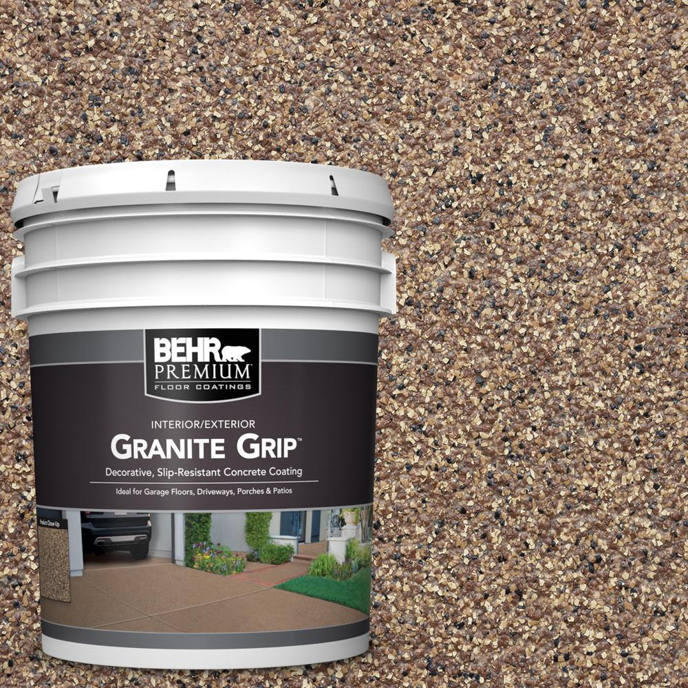 5 gal. Tan Granite Grip Decorative Flat Interior/Exterior Concrete Floor Coating