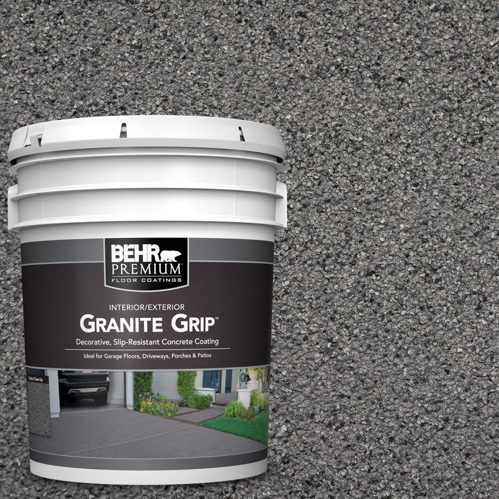 5 gal. Gray Granite Grip Decorative Flat Interior/Exterior Concrete Floor Coating