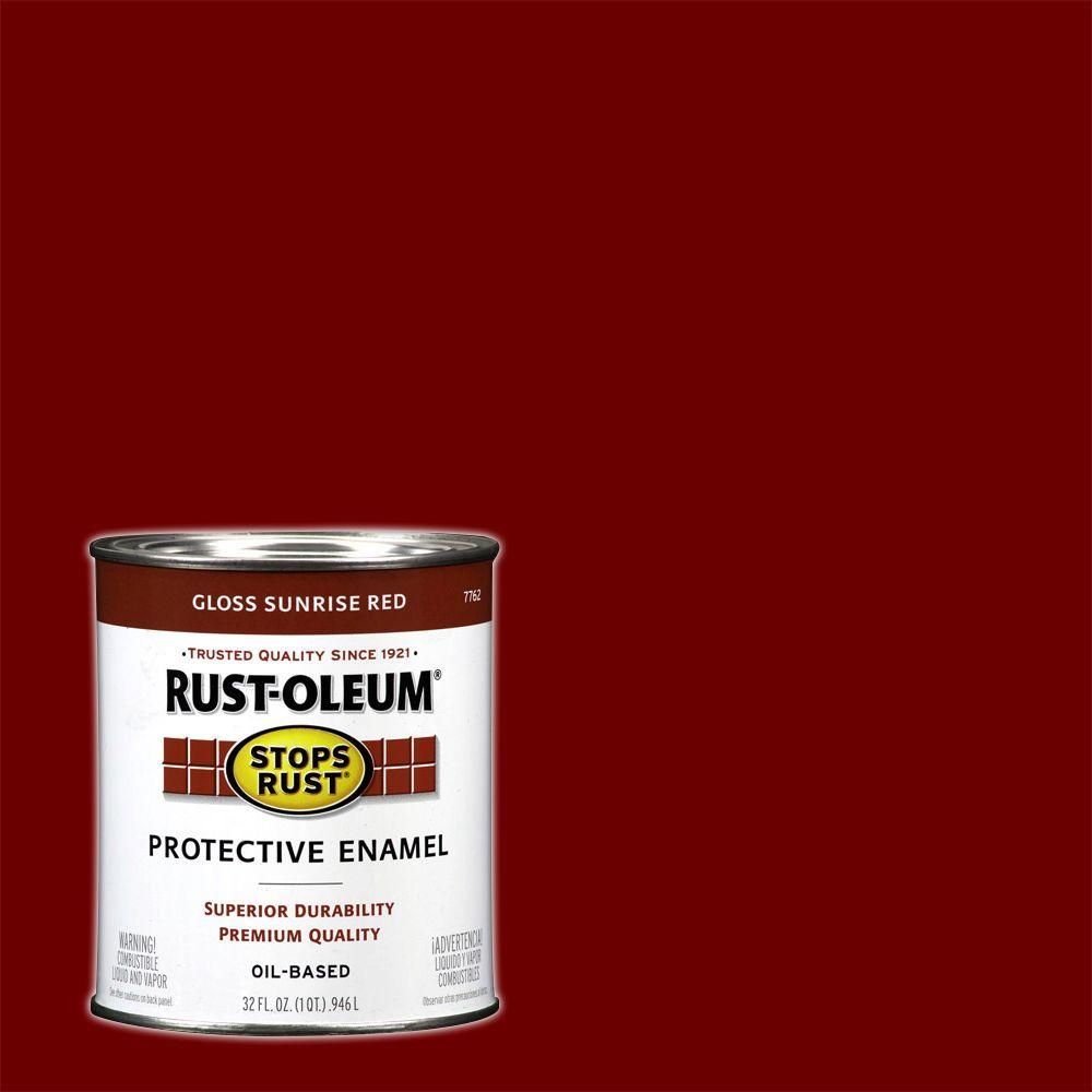 1 qt. Protective Enamel Gloss Sunrise Red Interior/Exterior Paint (2-Pack)